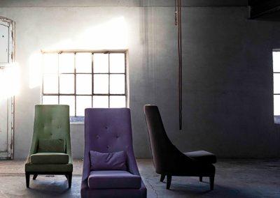 Fauteuils Sits Ginevra tissus Velvet violet olive et brown