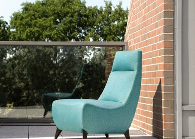 Fauteuil Sits Julius tissus Sony turquoise