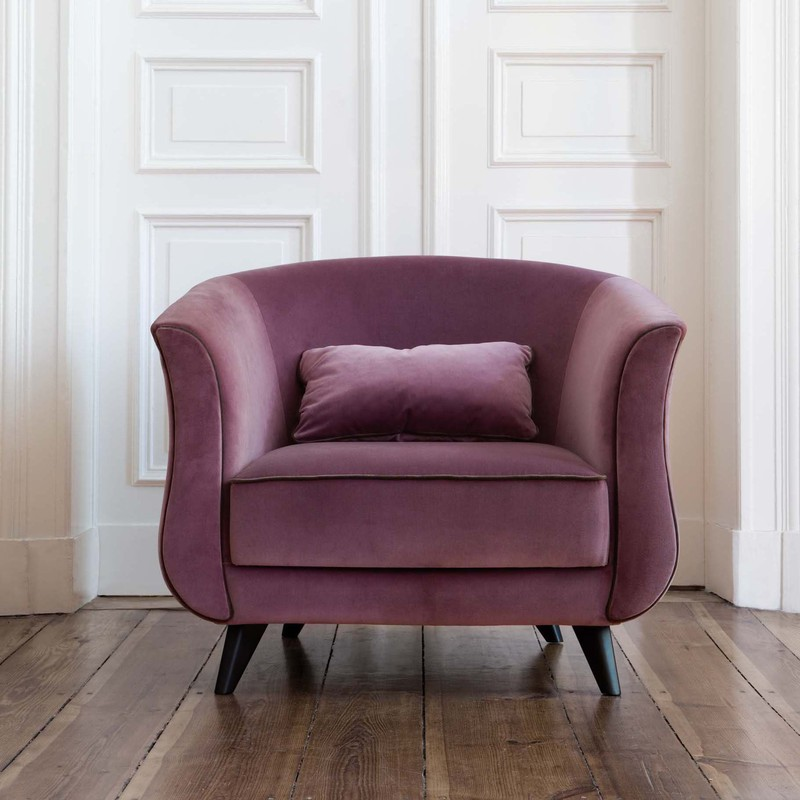 Fauteuil Sits Keysa tissus Velvet violet