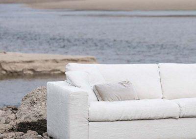 Canapé Sits Linda 3 places et cahise longue tissus Linen natur