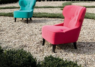 Fauteuils Sits Lisa tissus Velvet turquoise et Amstel pink