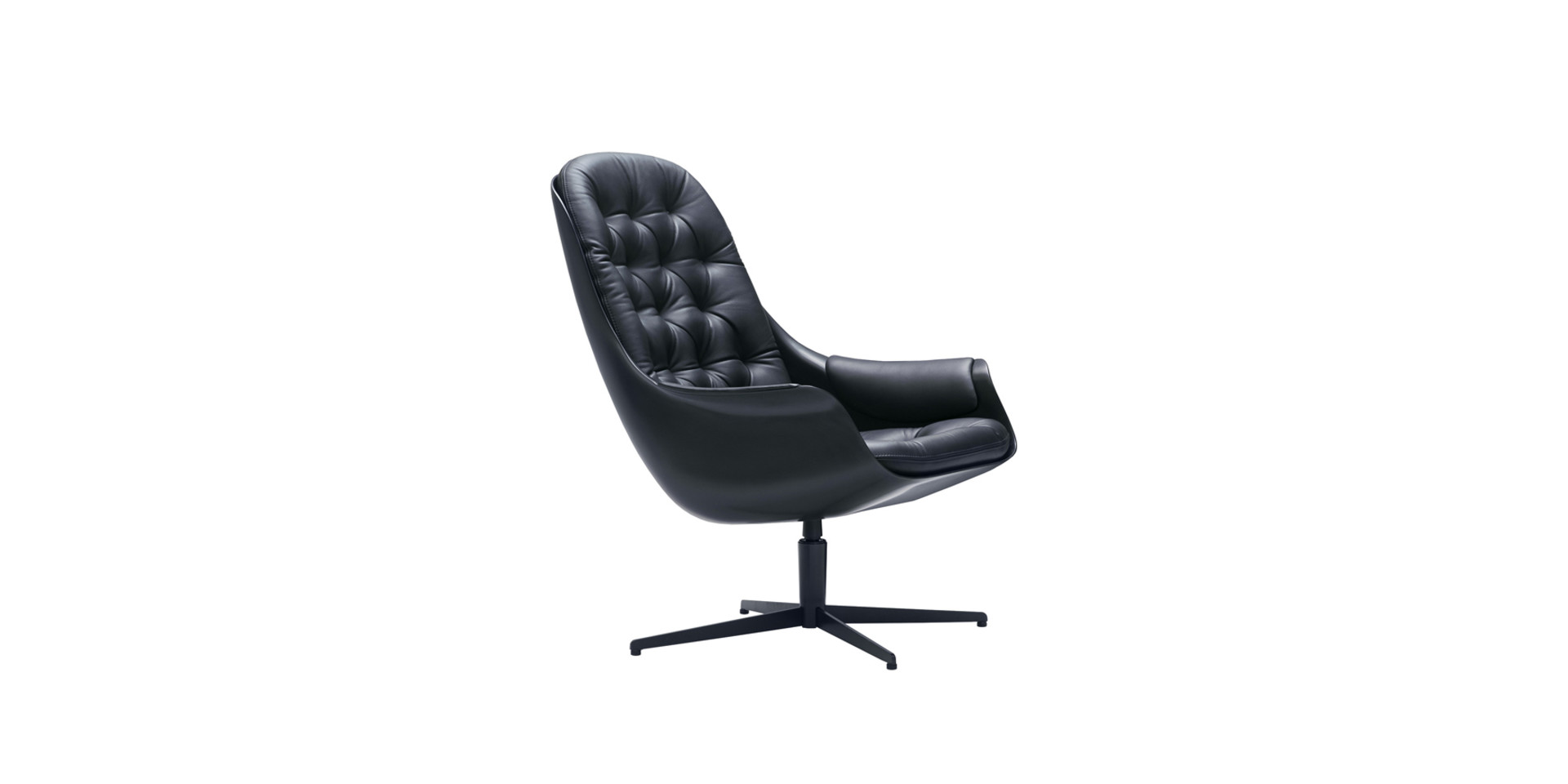 BLACKBIRD_armchair_swivel_white_aniline_black