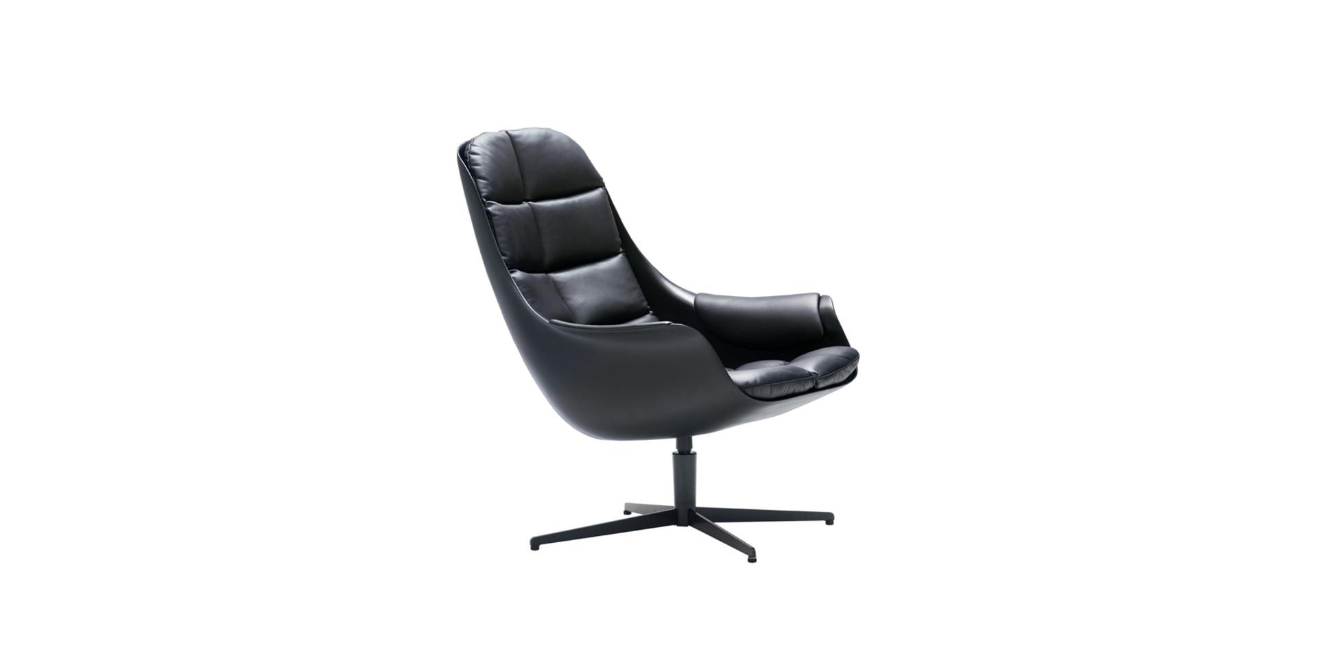 MYBIRD_armchair_swivel_white_aniline_black_1