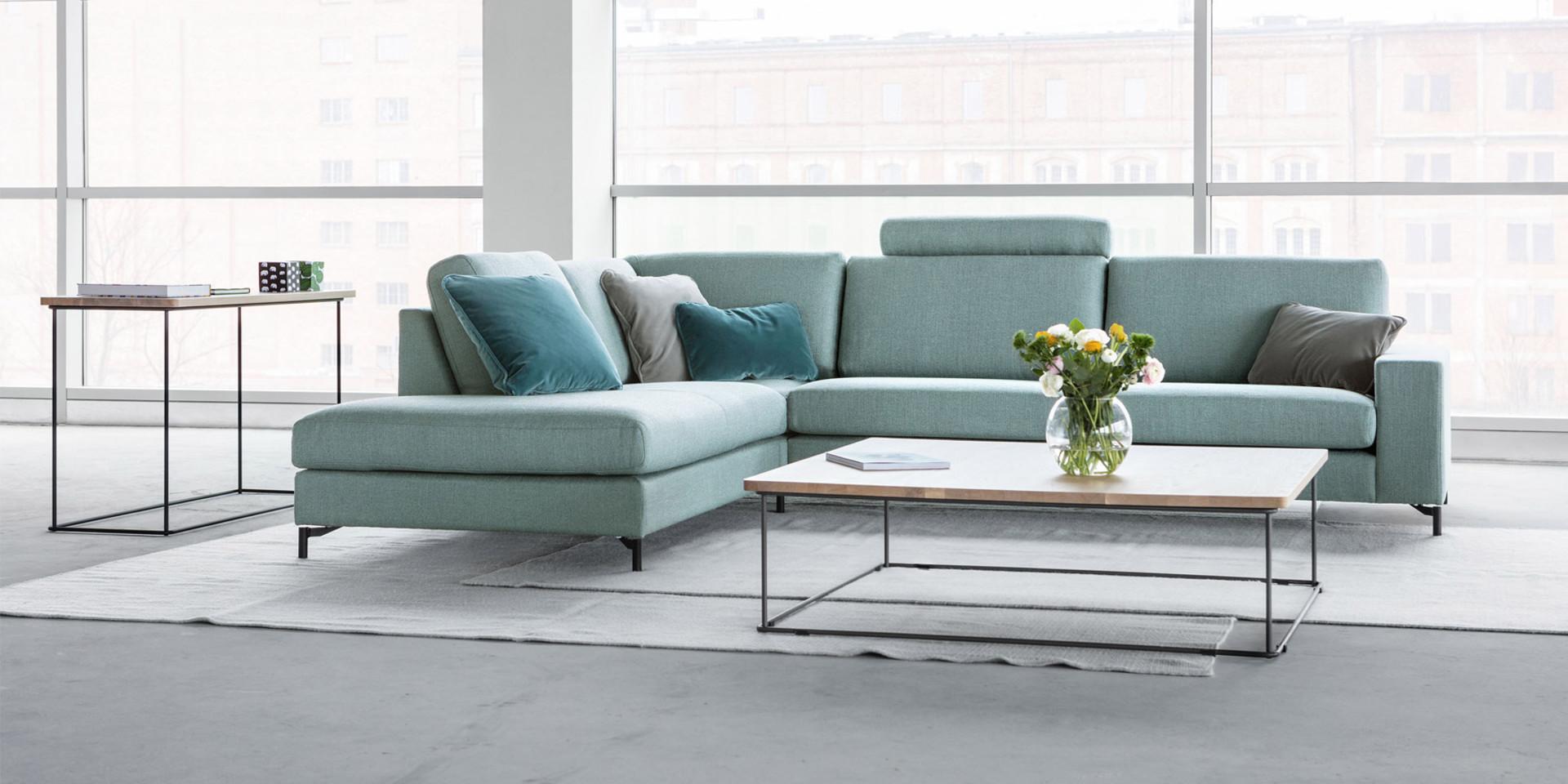 Canapé contemporain bleu Quattro set14 tissus bermuda7 light turquoise 3